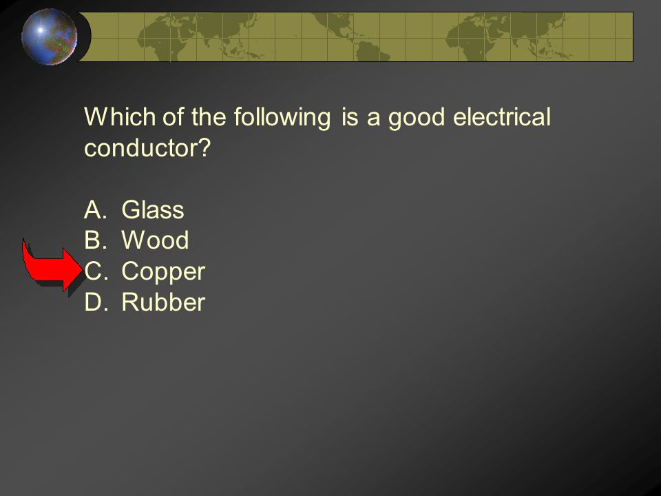 Which of the following is a good electrical conductor A.Glass B.Wood C.Copper D.Rubber