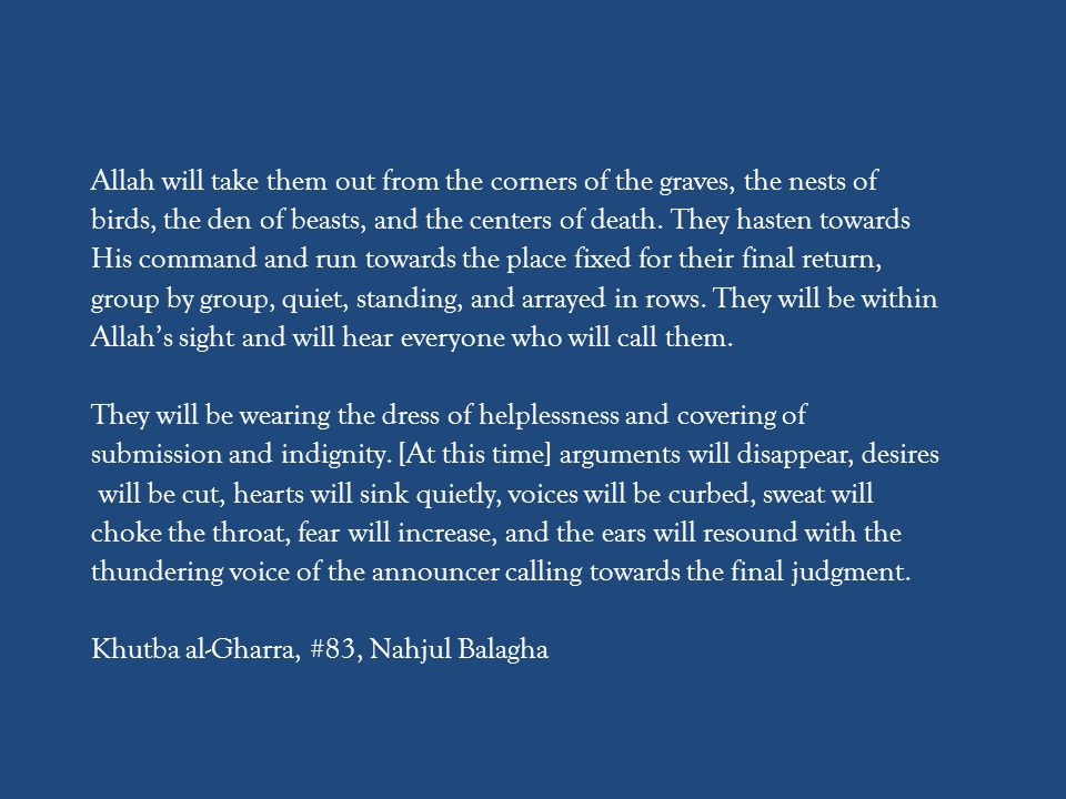 Allah will take them out from the corners of the graves, the nests of birds, the den of beasts, and the centers of death.