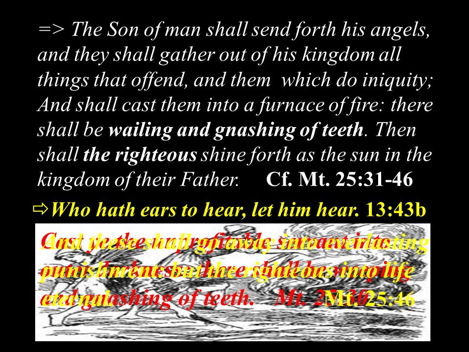 => The Son of man shall send forth his angels, and they shall gather out of his kingdom all things that offend, and them which do iniquity; And shall