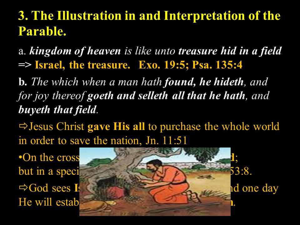 3. The Illustration in and Interpretation of the Parable. a. kingdom of heaven is like unto treasure hid in a field => Israel, the treasure.Exo. 19:5;