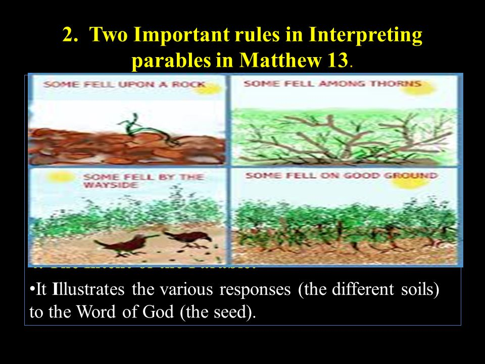 2. Two Important rules in Interpreting parables in Matthew 13.. a. Accept as final an interpretation when given by Jesus Himself. b. Points of Analogy