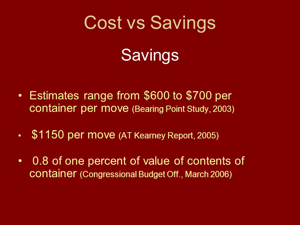 Cost vs Savings Savings Estimates range from $600 to $700 per container per move (Bearing Point Study, 2003) $1150 per move (AT Kearney Report, 2005)