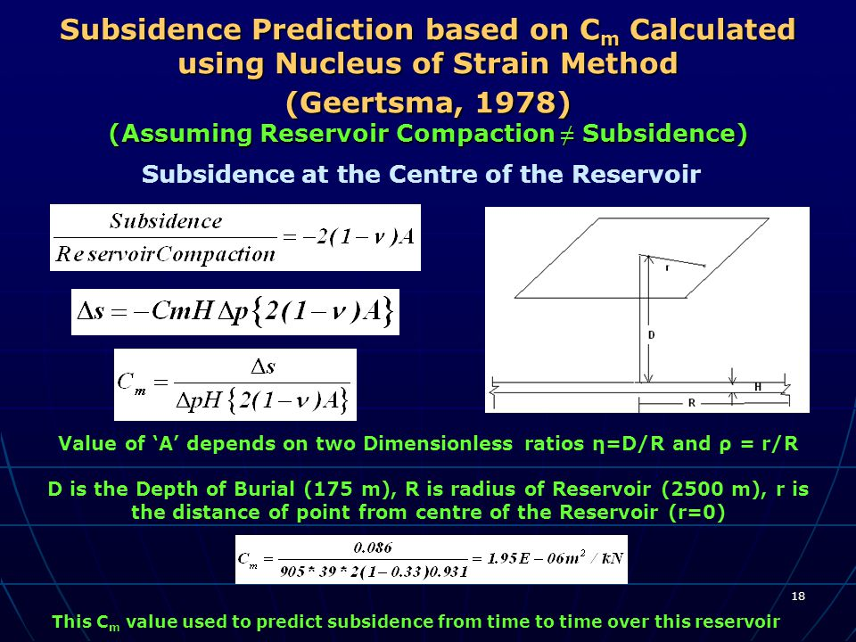 18 Subsidence Prediction based on C m Calculated using Nucleus of Strain Method (Geertsma, 1978) (Assuming Reservoir Compaction ≠ Subsidence) Subsiden