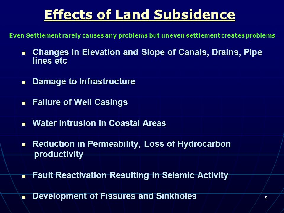5 Effects of Land Subsidence Effects of Land Subsidence Changes in Elevation and Slope of Canals, Drains, Pipe lines etc Changes in Elevation and Slop