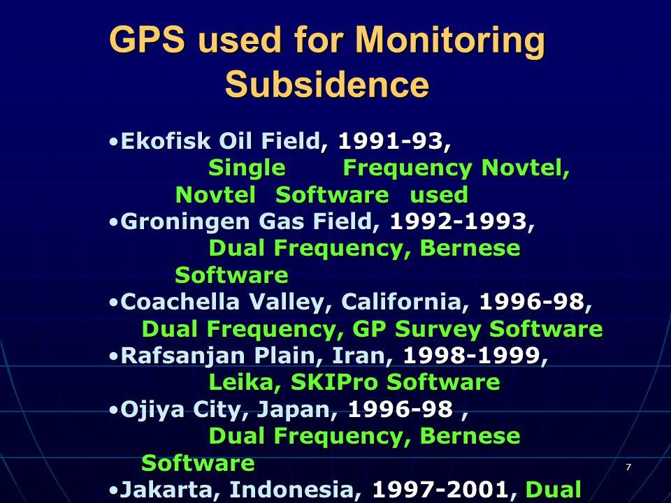 7 Ekofisk Oil Field, 1991-93,Ekofisk Oil Field, 1991-93, Single Frequency Novtel, Novtel Software used Groningen Gas Field, 1992-1993,Groningen Gas Fi