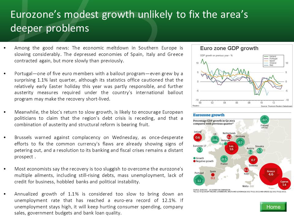 10 Eurozone's modest growth unlikely to fix the area's deeper problems Among the good news: The economic meltdown in Southern Europe is slowing considerably.