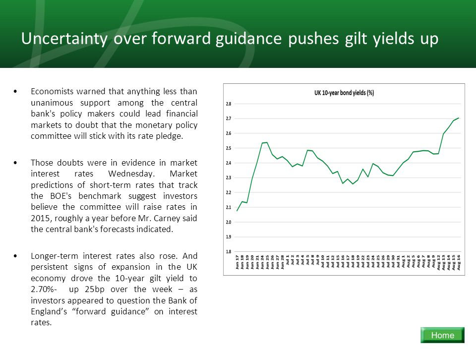 13 Uncertainty over forward guidance pushes gilt yields up Economists warned that anything less than unanimous support among the central bank s policy makers could lead financial markets to doubt that the monetary policy committee will stick with its rate pledge.