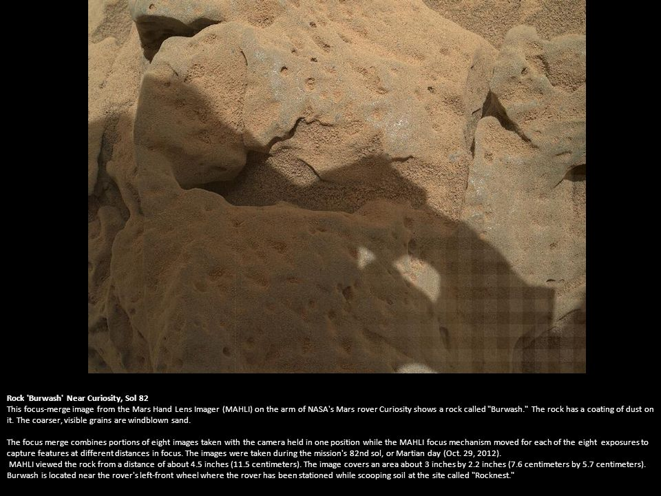 Curiosity s Rock-Contact Science Begins This image shows the robotic arm of NASA s Mars rover Curiosity with the first rock touched by an instrument on the arm.