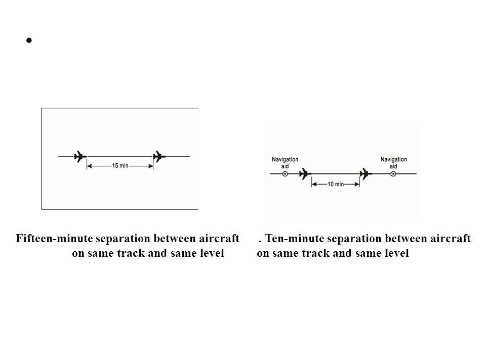 Fifteen-minute separation between aircraft. Ten-minute separation between aircraft on same track and same level
