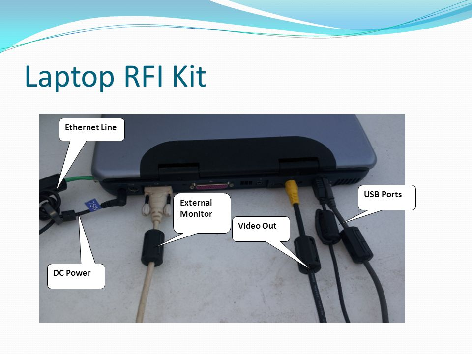 Laptop RFI Kit USB Ports Ethernet Line DC Power Video Out External Monitor