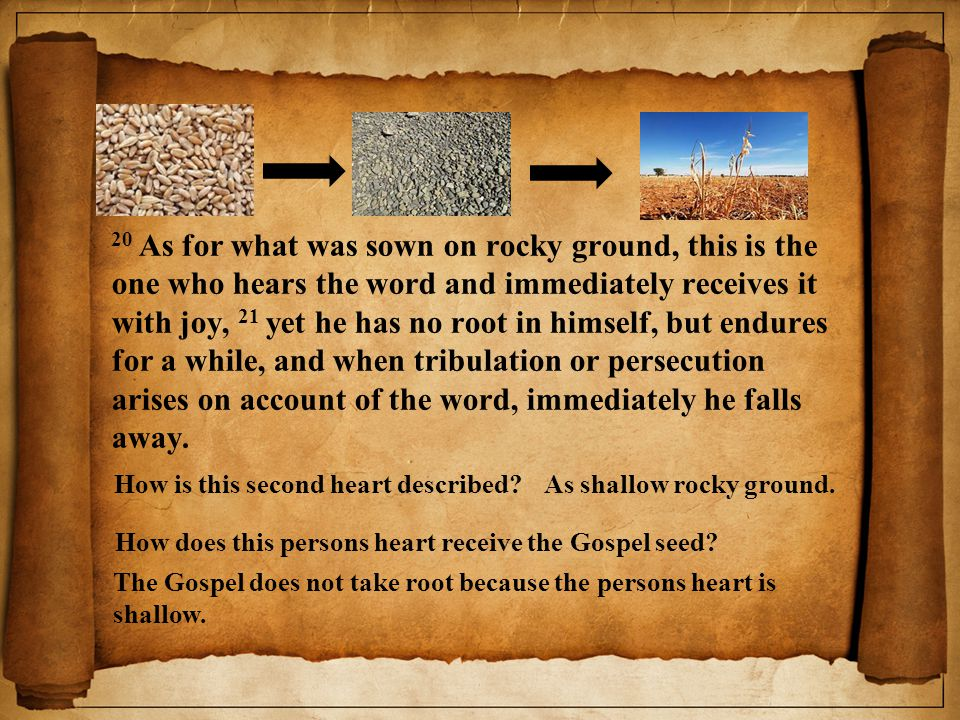 20 As for what was sown on rocky ground, this is the one who hears the word and immediately receives it with joy, 21 yet he has no root in himself, but endures for a while, and when tribulation or persecution arises on account of the word, immediately he falls away.