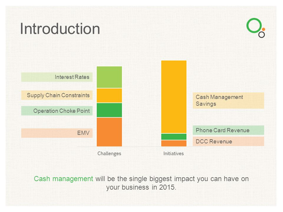 Cash management will be the single biggest impact you can have on your business in 2015. Introduction EMV Operation Choke Point Supply Chain Constrain