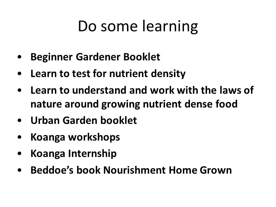 Do some learning Beginner Gardener Booklet Learn to test for nutrient density Learn to understand and work with the laws of nature around growing nutr