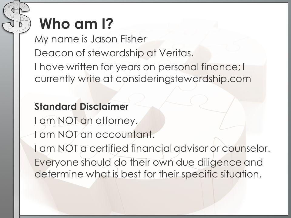 Who am I.My name is Jason Fisher Deacon of stewardship at Veritas.