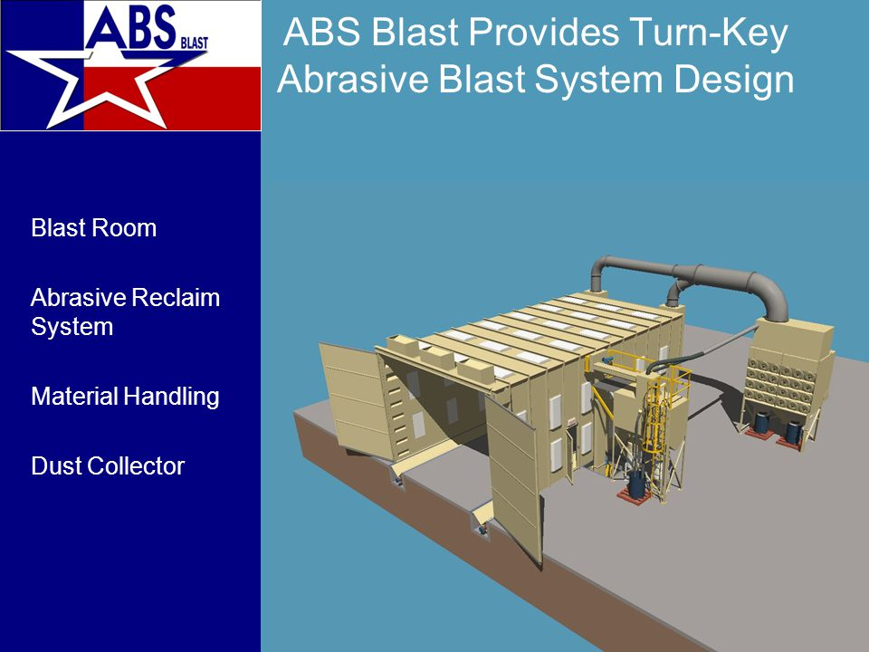 Blast Room Design Our approach matches your production needs with a cost efficient design Production NeedDesign Parameter Dimensions of Blast Room Size of Largest Work Piece Material Handling Wt of Heaviest Work Piece Abrasive Selection Required Finish Room Configuration Production Workflow Reclaim Capacity Production Volume