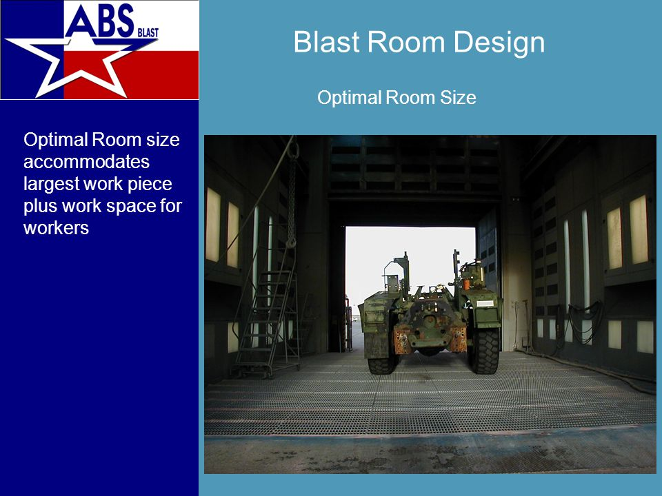 Blast Room Design Optimal Room size accommodates largest work piece plus work space for workers Optimal Room Size