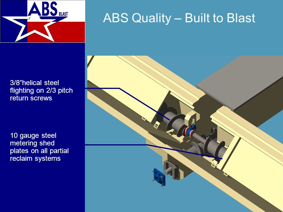 ABS Quality – Built to Blast 3/8 helical steel flighting on 2/3 pitch return screws 10 gauge steel metering shed plates on all partial reclaim systems