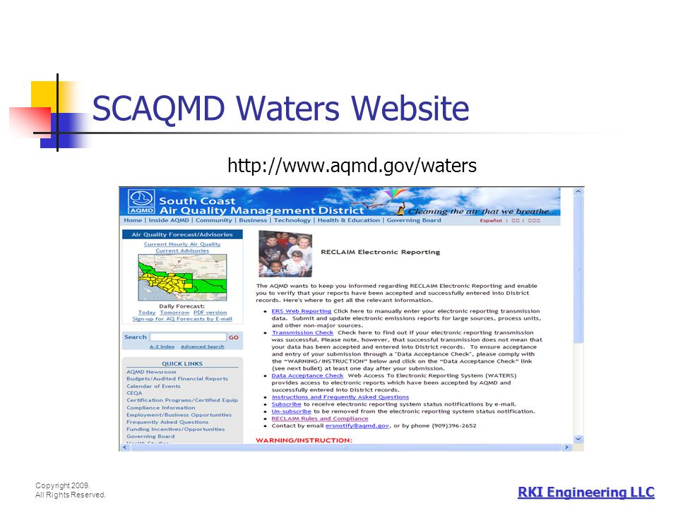 Copyright 2009. All Rights Reserved. RKI Engineering LLC SCAQMD Waters Website http://www.aqmd.gov/waters