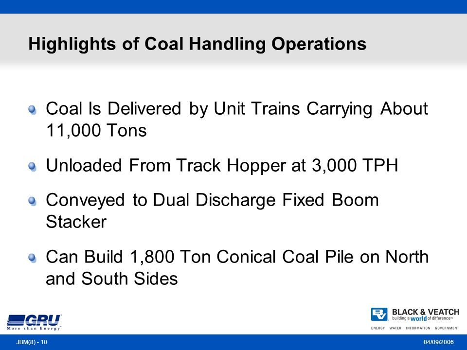 04/09/2006JBM(8) - 10 Highlights of Coal Handling Operations Coal Is Delivered by Unit Trains Carrying About 11,000 Tons Unloaded From Track Hopper at 3,000 TPH Conveyed to Dual Discharge Fixed Boom Stacker Can Build 1,800 Ton Conical Coal Pile on North and South Sides