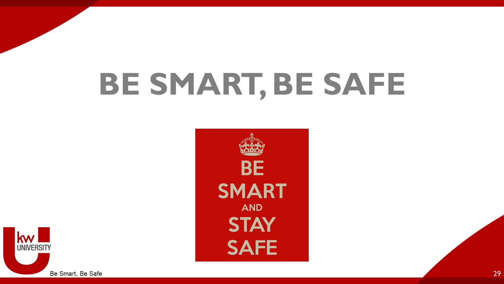 BE SMART, BE SAFE 29 Be Smart, Be Safe