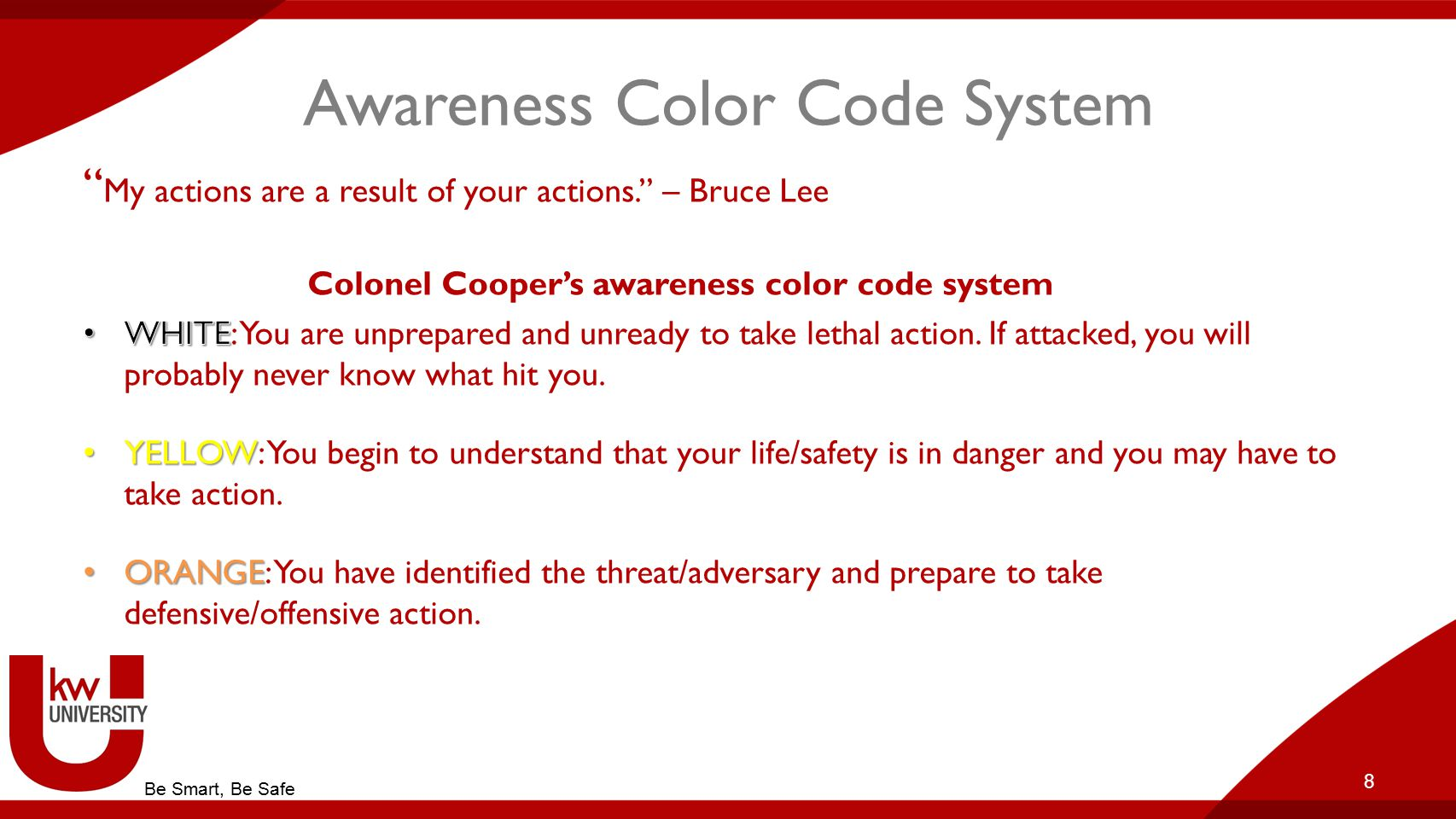 Awareness Color Code System RED: You are in combat mode and will fight/shoot/take any action necessary to survive/win if necessary.