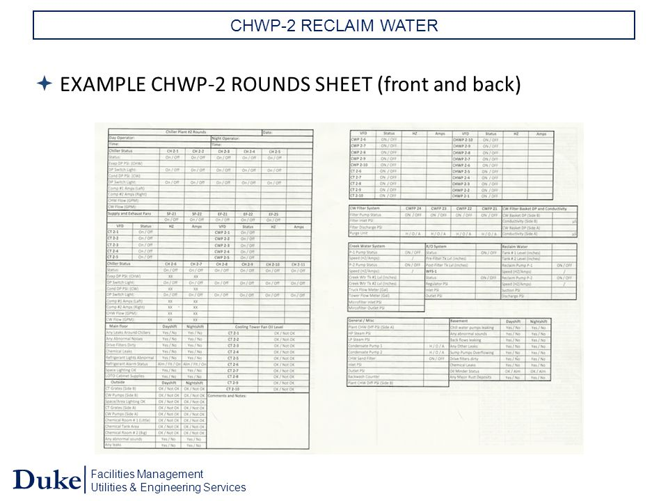 Facilities Management Utilities & Engineering Services Duke CHWP-2 RECLAIM WATER  EXAMPLE CHWP-2 ROUNDS SHEET (front and back)