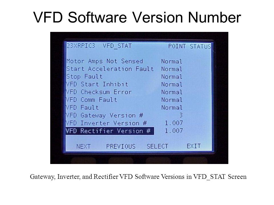 VFD Software Version Number Gateway, Inverter, and Rectifier VFD Software Versions in VFD_STAT Screen