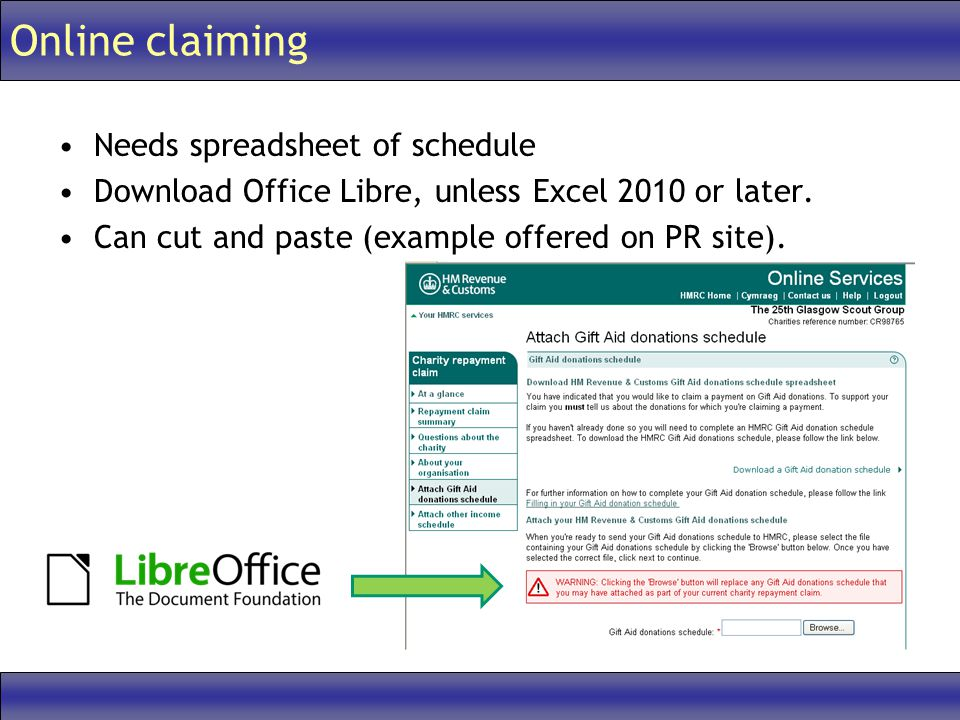 Online claiming Needs spreadsheet of schedule Download Office Libre, unless Excel 2010 or later.