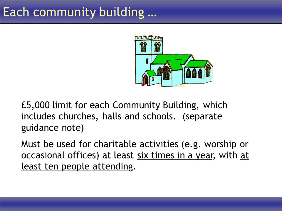 Each community building … £5,000 limit for each Community Building, which includes churches, halls and schools.