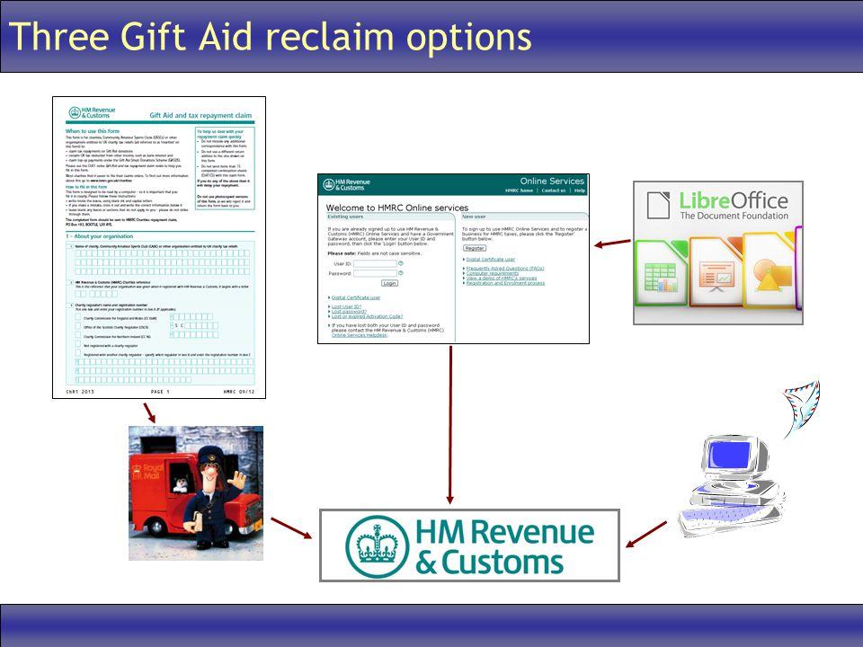 Three Gift Aid reclaim options