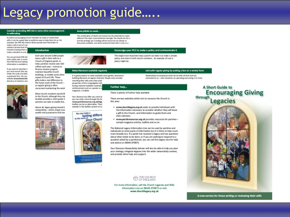 Legacy promotion guide…..