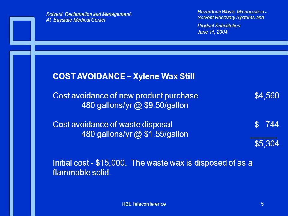 H2E Teleconference5 COST AVOIDANCE – Xylene Wax Still Cost avoidance of new product purchase$4,560 480 gallons/yr @ $9.50/gallon Cost avoidance of waste disposal$ 744 480 gallons/yr @ $1.55/gallon ______ $5,304 Initial cost - $15,000.