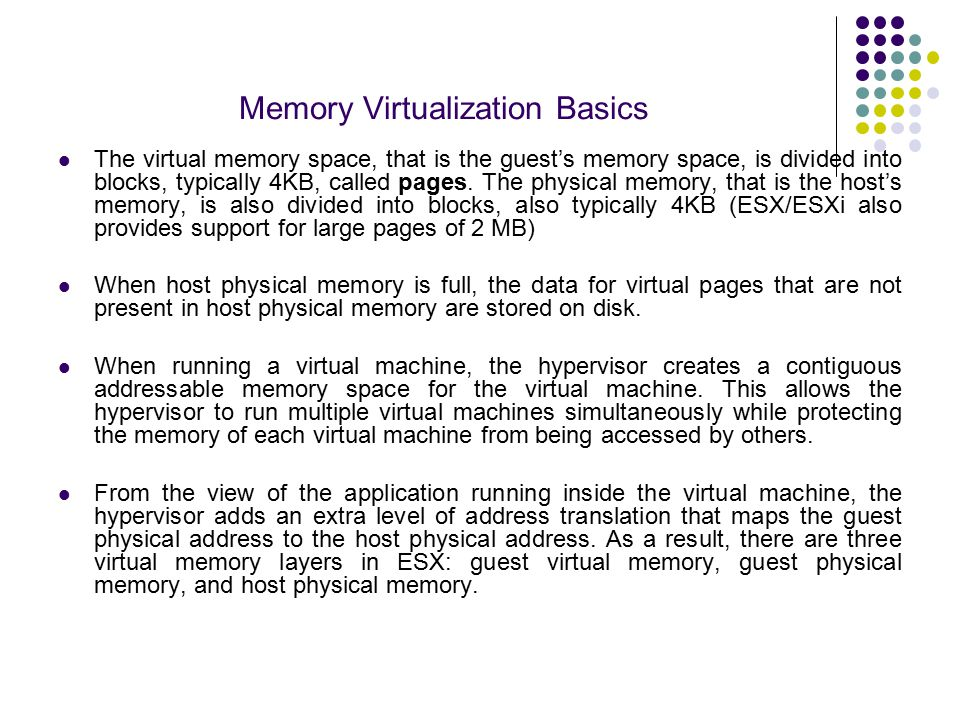 Memory Virtualization Basics Virtual memory levels (a) and memory address translation (b) in ESX