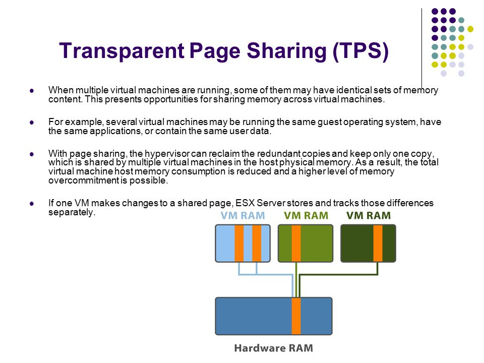 Transparent Page Sharing (TPS) When multiple virtual machines are running, some of them may have identical sets of memory content.