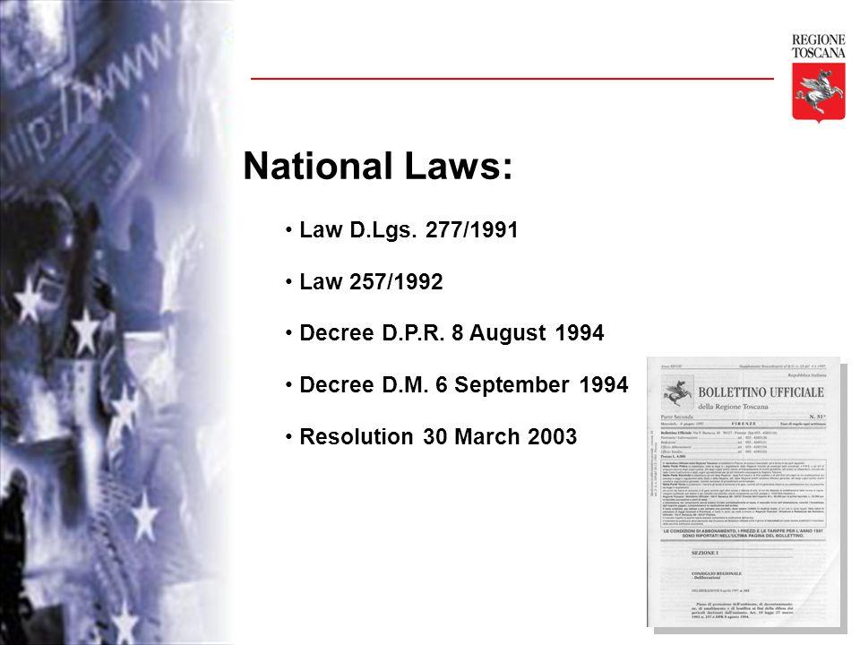 National Laws: Law D.Lgs. 277/1991 Law 257/1992 Decree D.P.R.