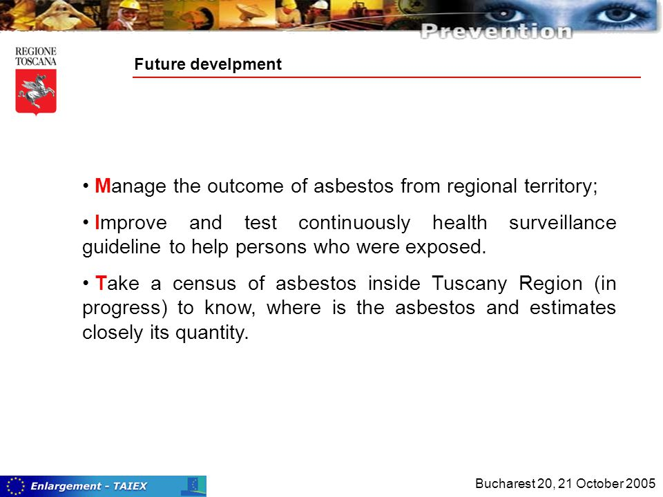 Future develpment Manage the outcome of asbestos from regional territory; Improve and test continuously health surveillance guideline to help persons who were exposed.