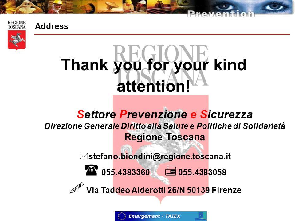 Address  stefano.biondini@regione.toscana.it  055.4383360  055.4383058  Via Taddeo Alderotti 26/N 50139 Firenze Settore Prevenzione e Sicurezza Direzione Generale Diritto alla Salute e Politiche di Solidarietà Regione Toscana Thank you for your kind attention!