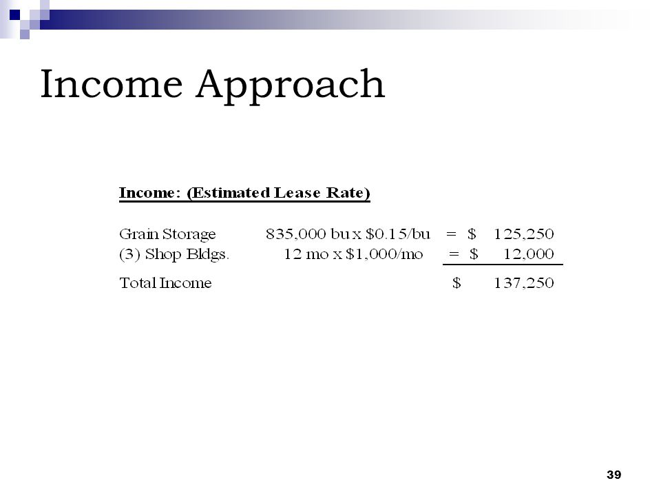 39 Income Approach