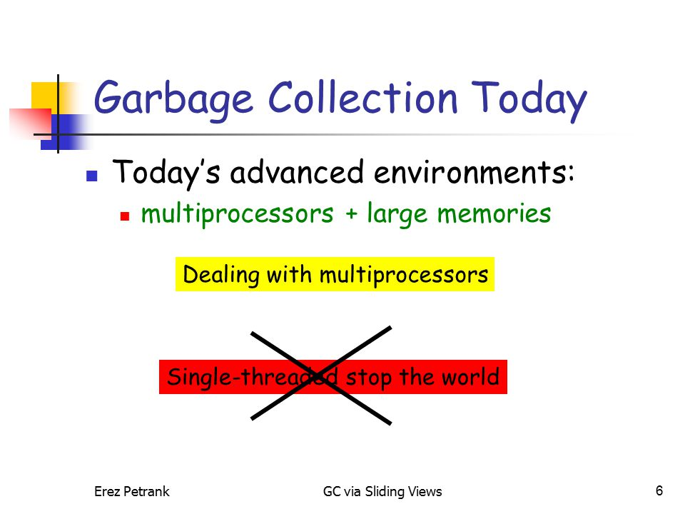 Erez PetrankGC via Sliding Views7 Garbage Collection Today Today's advanced environments: multiprocessors + large memories Dealing with multiprocessors Concurrent collectionParallel collection