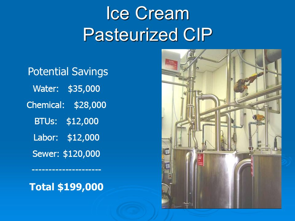 Ice Cream Pasteurized CIP Potential Savings Water: $35,000 Chemical: $28,000 BTUs: $12,000 Labor: $12,000 Sewer: $120,000 --------------------- Total $199,000