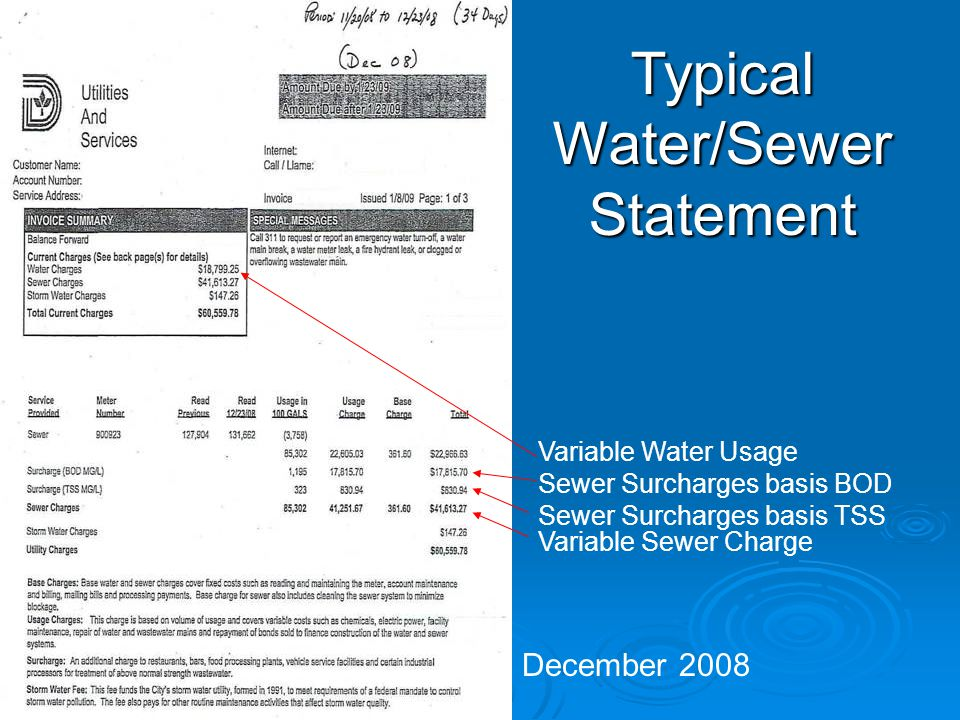 Typical Water/Sewer Statement December 2008 Variable Sewer Charge Sewer Surcharges basis BOD Sewer Surcharges basis TSS Variable Water Usage