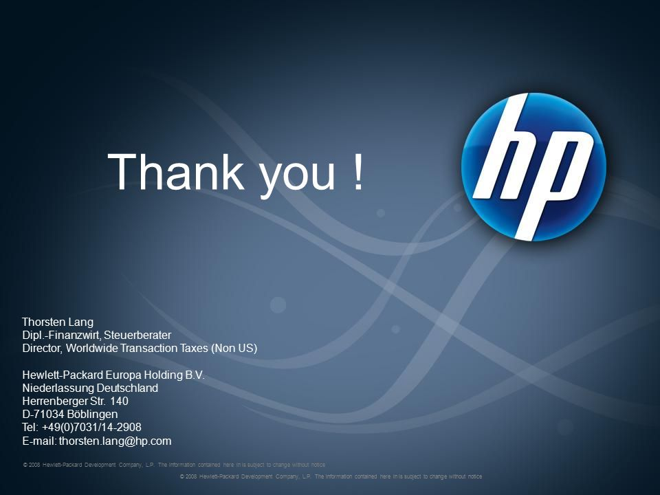 © 2008 Hewlett-Packard Development Company, L.P.