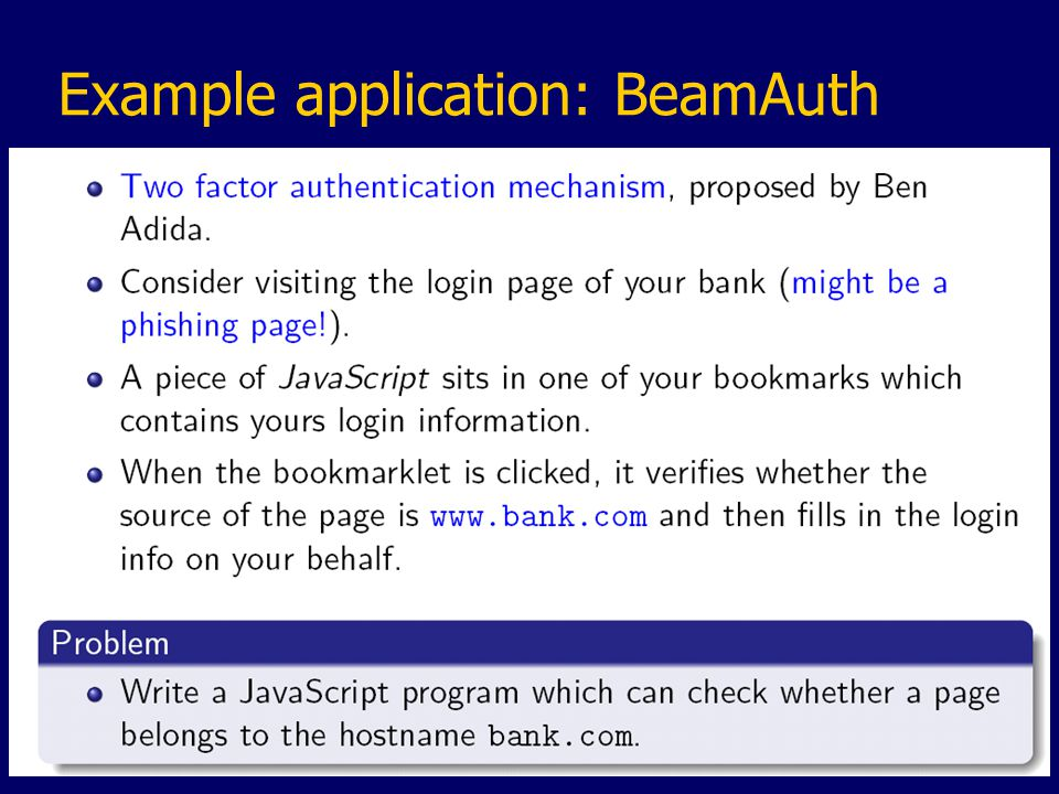 Example application: BeamAuth
