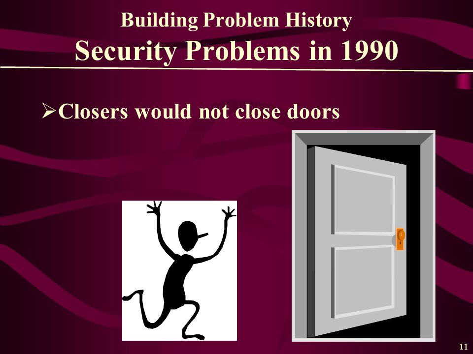 11 Building Problem History Security Problems in 1990  Closers would not close doors