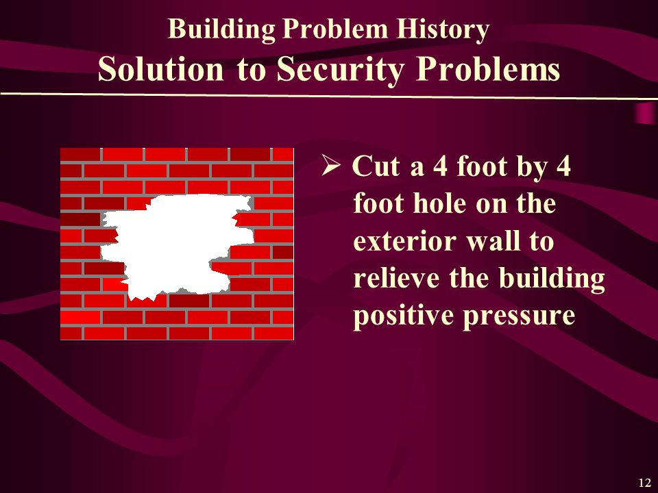 12 Building Problem History Solution to Security Problems  Cut a 4 foot by 4 foot hole on the exterior wall to relieve the building positive pressure