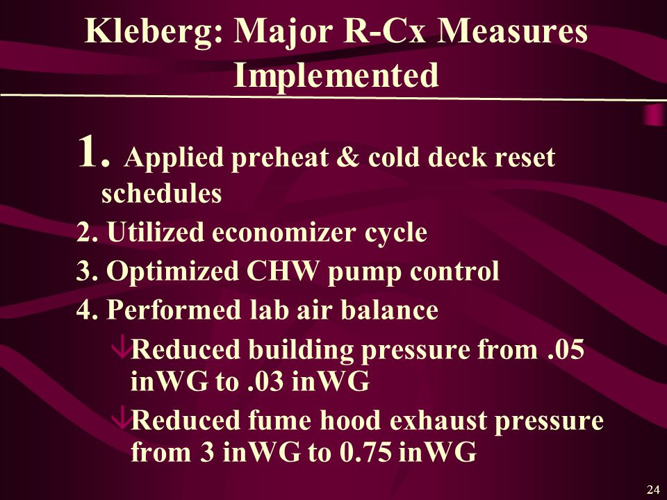24 Kleberg: Major R-Cx Measures Implemented 1. Applied preheat & cold deck reset schedules 2.