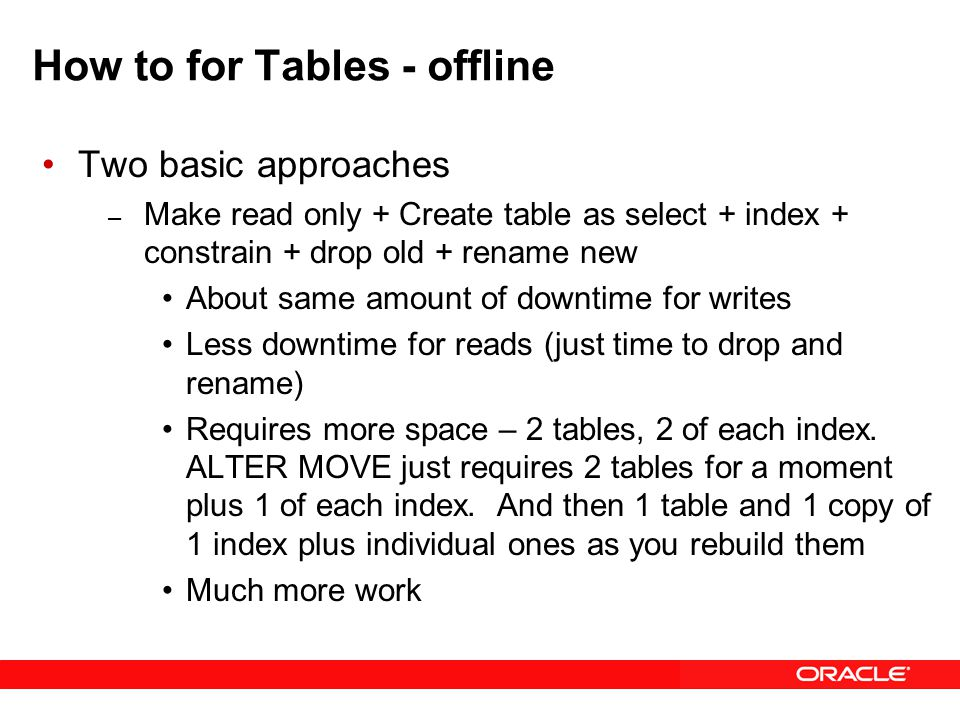 How to for Tables - offline Two basic approaches – Make read only + Create table as select + index + constrain + drop old + rename new About same amount of downtime for writes Less downtime for reads (just time to drop and rename) Requires more space – 2 tables, 2 of each index.