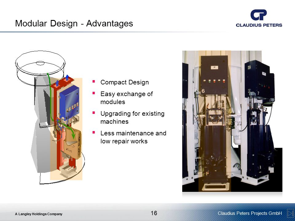 A Langley Holdings Company Claudius Peters Projects GmbH 16 Modular Design - Advantages  Compact Design  Easy exchange of modules  Upgrading for existing machines  Less maintenance and low repair works