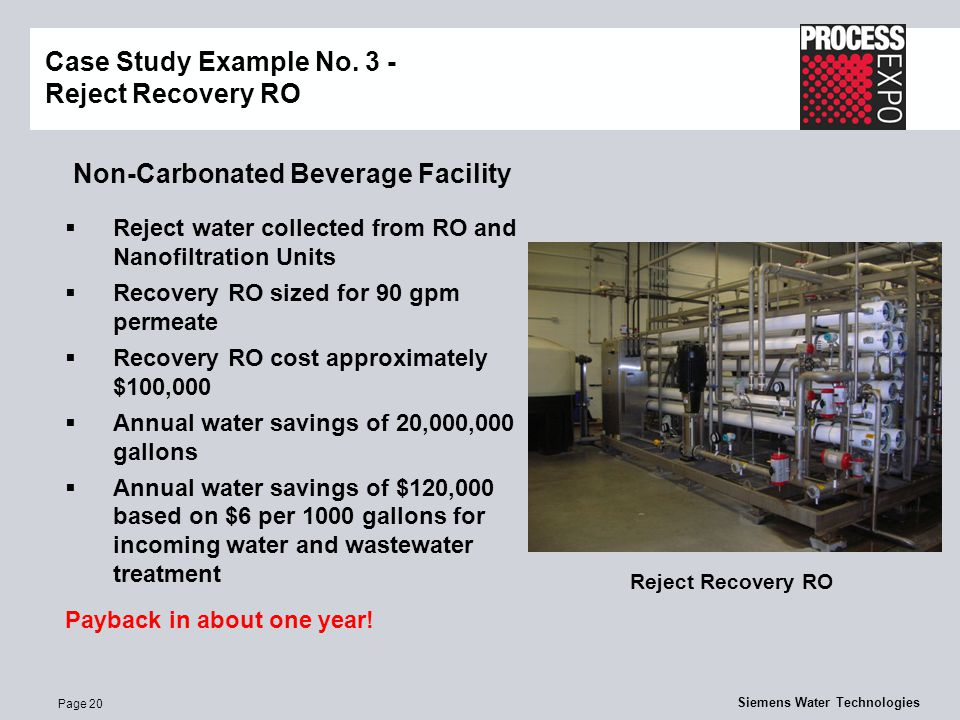 Page 20 Siemens Water Technologies Non-Carbonated Beverage Facility Case Study Example No.