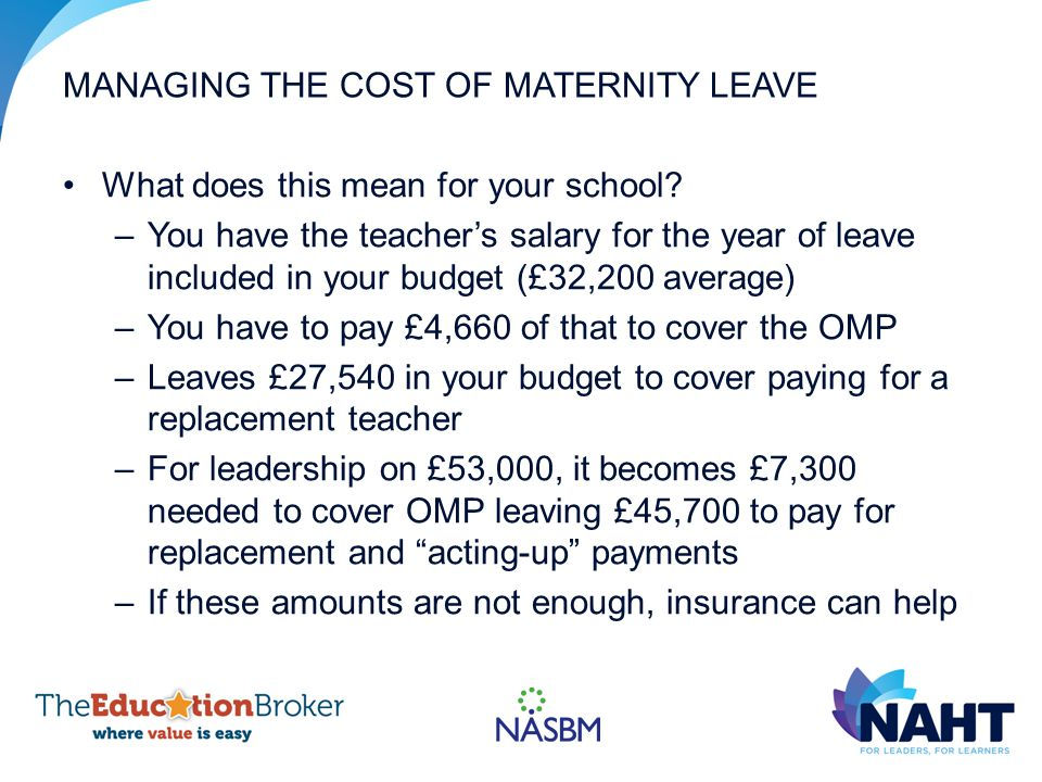 MANAGING THE COST OF MATERNITY LEAVE What does this mean for your school.
